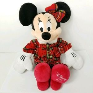 Christmas Minnie Mouse Red Green Plaid Bow Dress